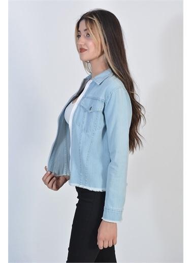 Zeren Kadın Mavi Püsküllü Çift Cep Denım Ceket Mavi
